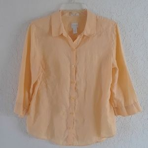 Chico's butter yellow linen shirt
